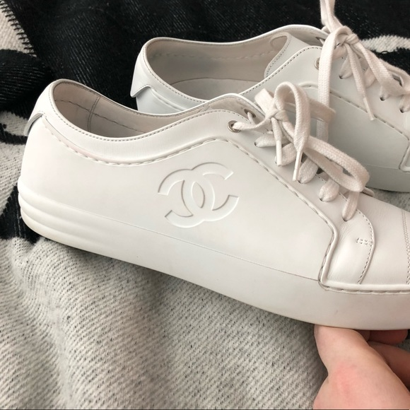 Chanel White Leather Rubber Trainers